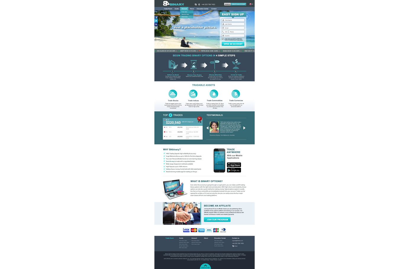 Binary options website design
