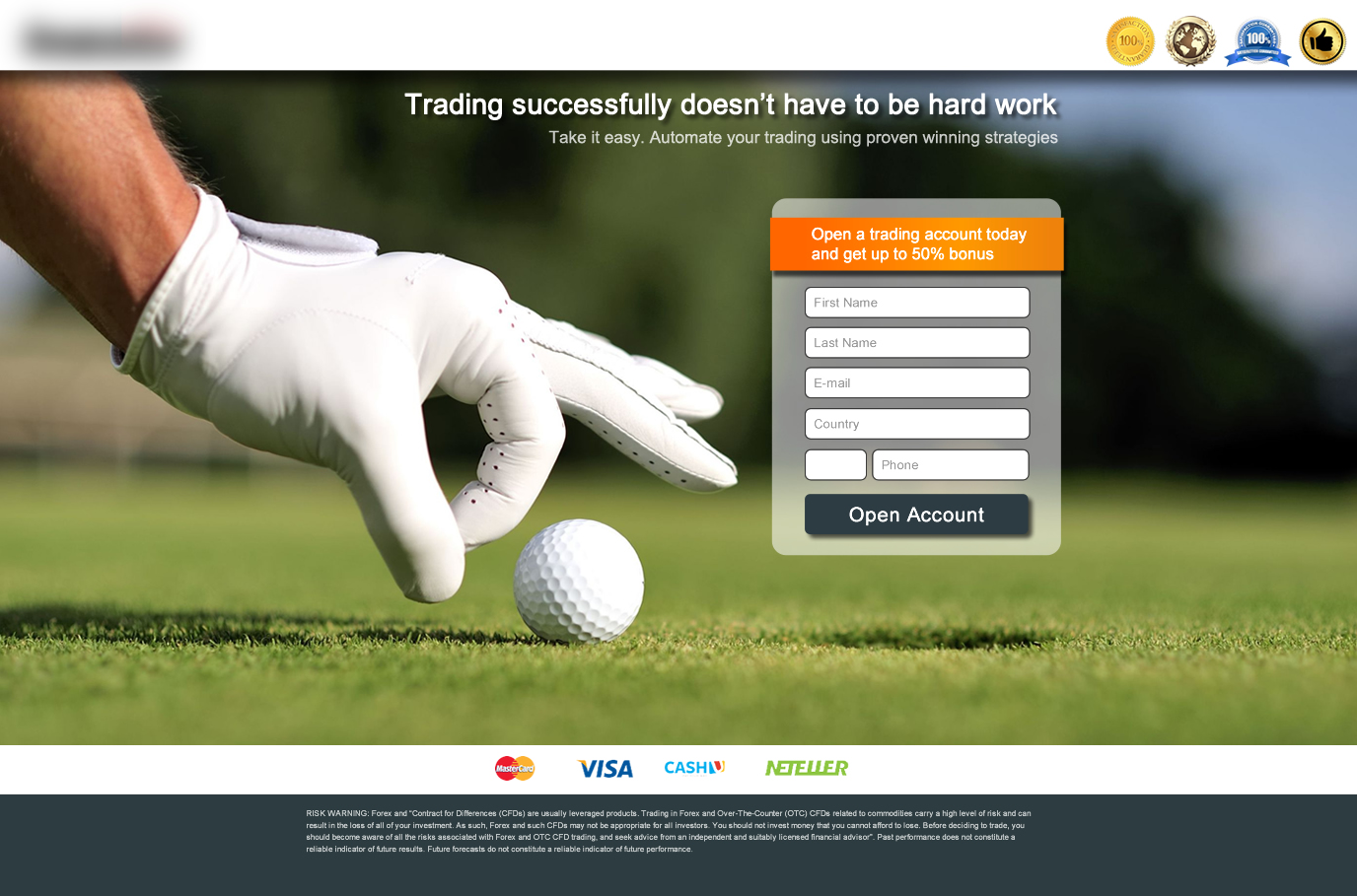 Binary Options landing page example